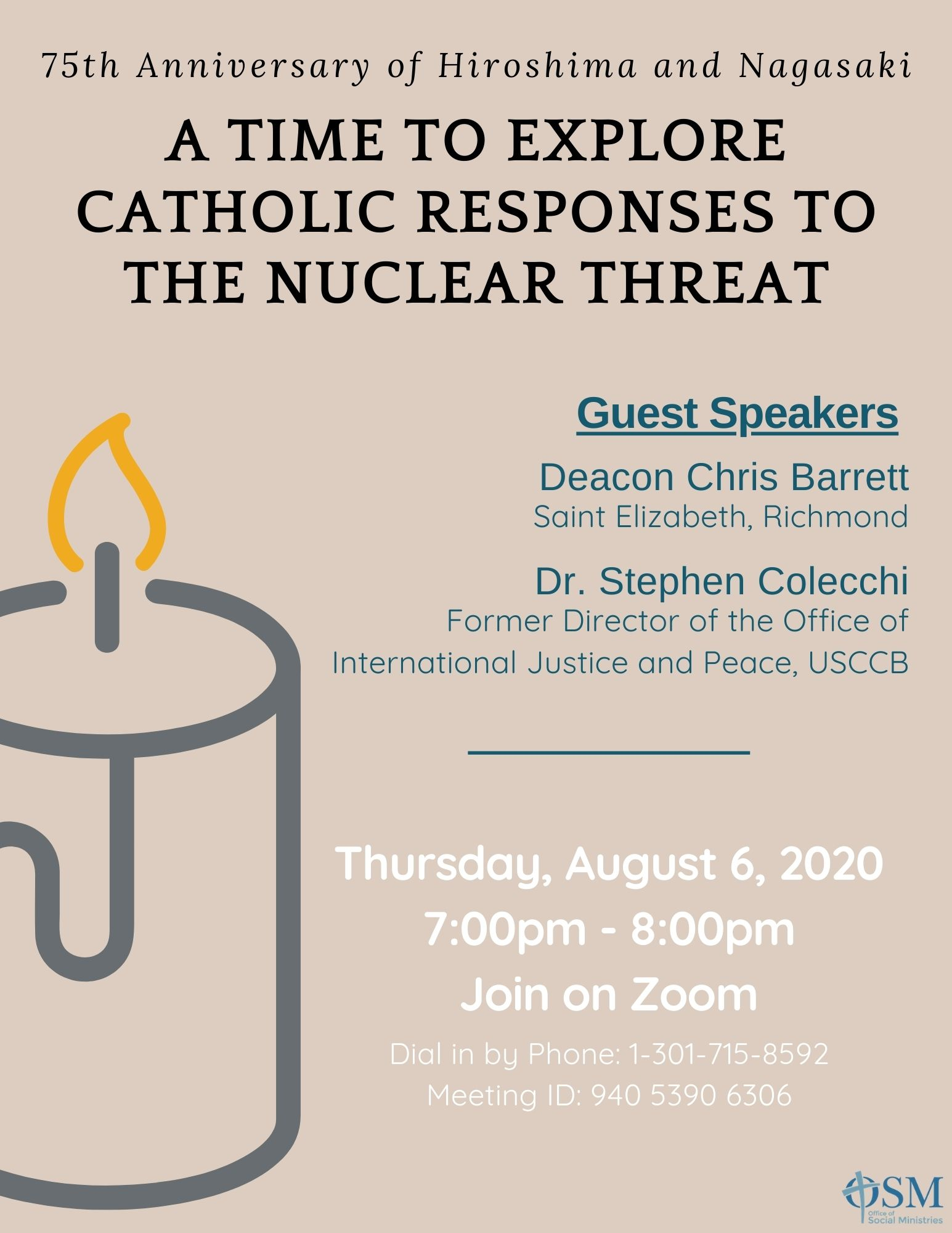 Tan background, illustration of a candle, Text A time to explore catholic response to nuclear threat, link to event