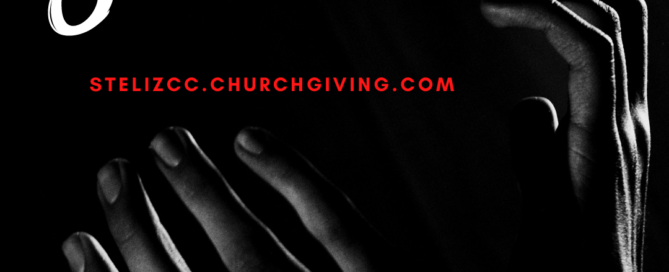 text: Share what you can and a website stelizcc.churchgiving.com id: black and white photo of hands raised