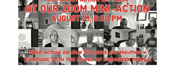 Click image to join an online meeting on August 31, 6:30 about gun violence and evictions