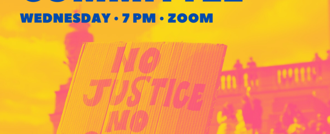 Click image to join the social justice committee meeting hosted on zoom