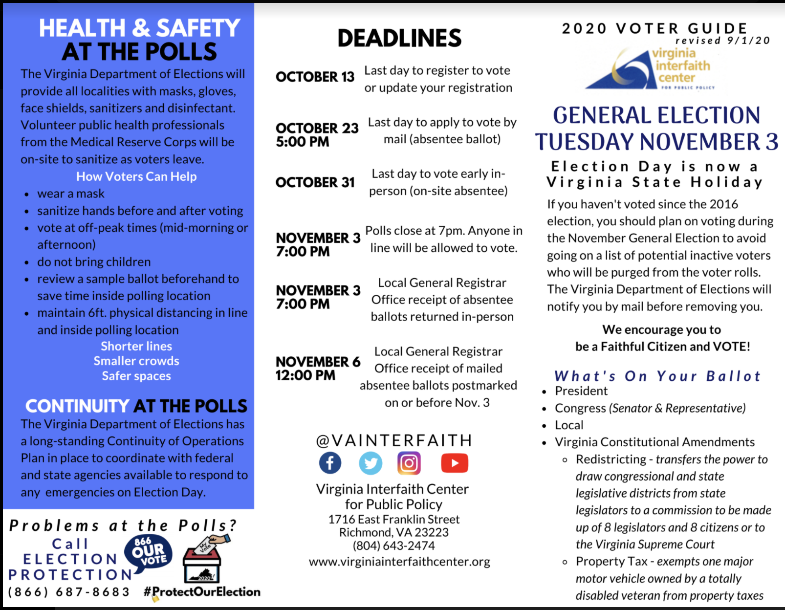 2020 voter guide from Virginia Interfaith Center for Public Policy headline health and safety at the polls deadlines continuity at the polls election day is now a virginia state holiday