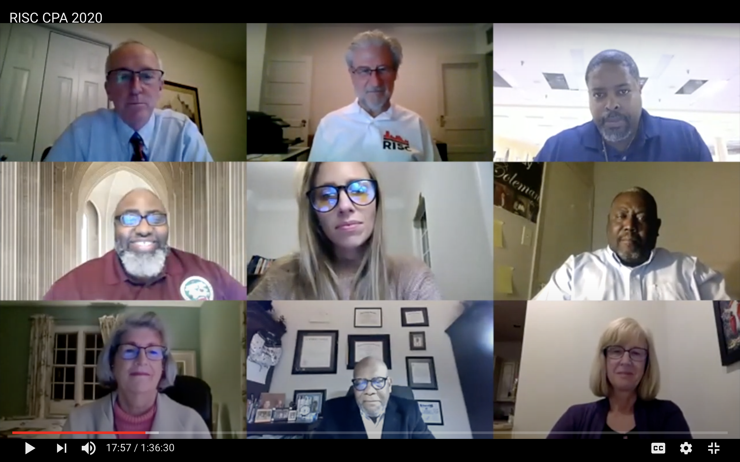 Screenshot of 9 people on a video conference call