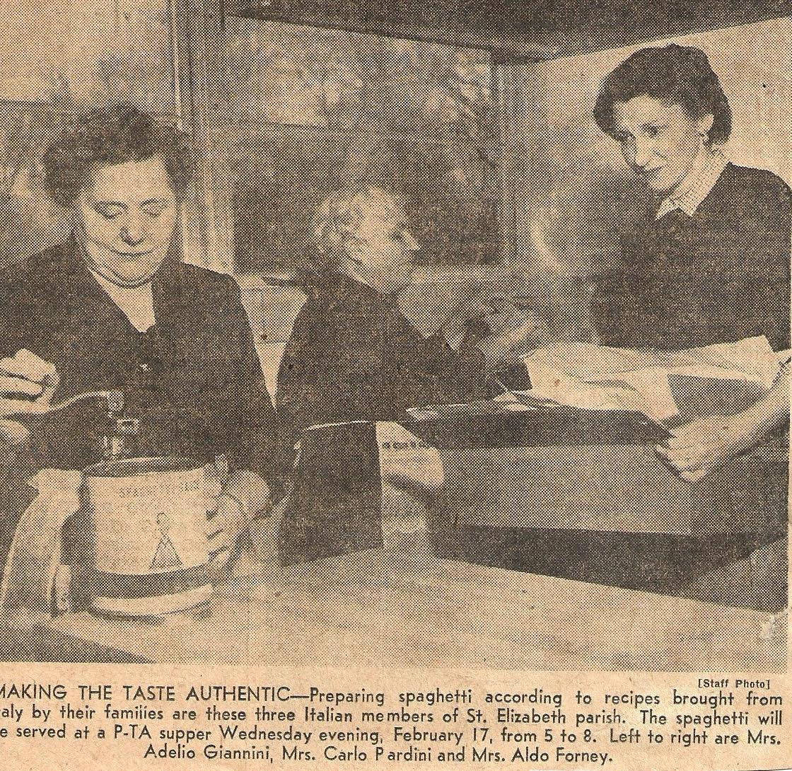 Image newspaper clipping of three women making pasta